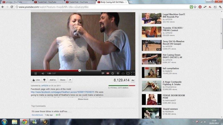 Oh Youtube..... Link to the video www.youtube.com/watch?feature=fvwp&NR=1&v=x2uzLqry46o. flodp Casing Art! an Make: e Legal Machine Gun!!! 800 Rounds Per Youtub Boobs youtube lol white stuff socks