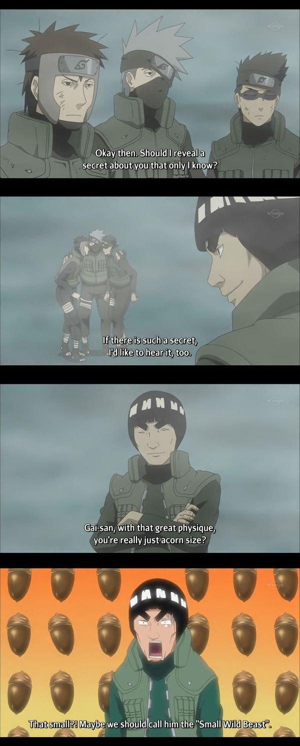 only Kakashi knows the Guy's secret.. anime : spongebob.