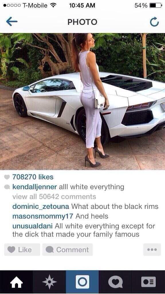 ooooooooooooooooooooo. Kendrall Jenner is the (half) sister of Kim Kardashian. 703270 likes l, aall white everything What about the black rims Arno heels Carim!