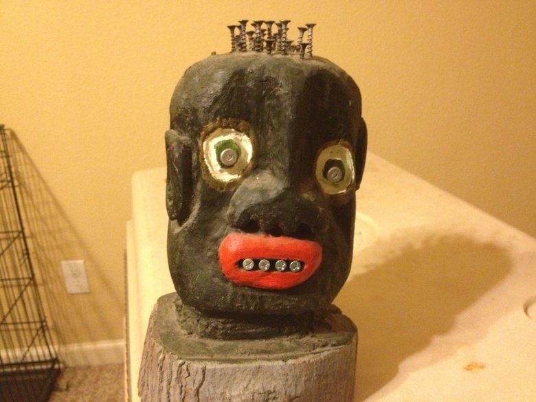Original art by Andre herring.voodoo. Wood art by Andre herring.. wheres the funny? Art voodoo face