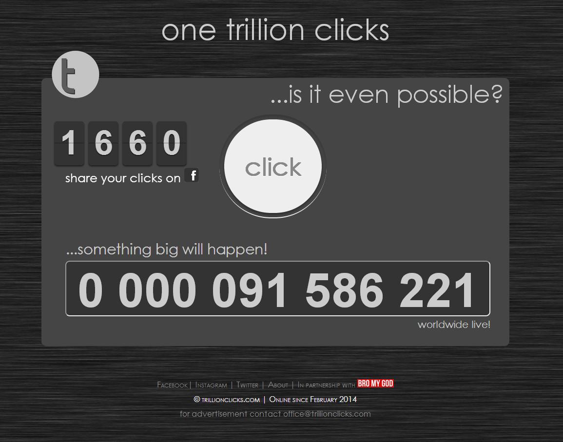 over 90 million... crazy crazy. are they able to reach one trillion clicks? crazy fgts www.trillionclicks.com. C) r' lei) Trillion clicks dean IUPU share your c one trillion cli