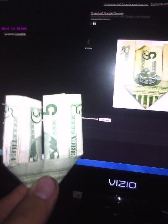 Pancake 5 dollar bill fake. fake!.. nice TV bro I have the same one five dollar bill