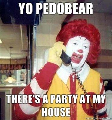 Pedobear and Ronald, friends?. . ronald mcdonald ronald pedobear McDonalds funny lol