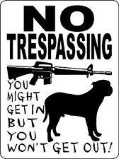 Perro de presa Canario(guard dogs). . BIO MIGHT GET IN BUT rot) WON' T GET GUT.'. Beware. Telekinetic dogs with rifles.