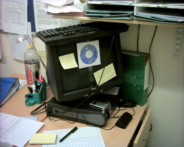 Piled up computer. .. k? computer