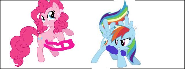 Pinkie Pie X Rainbow Dash. Made some clop material..