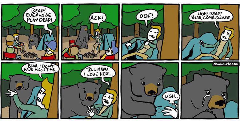 Play dead. . BEAR! e urn Bear play dead dramatic