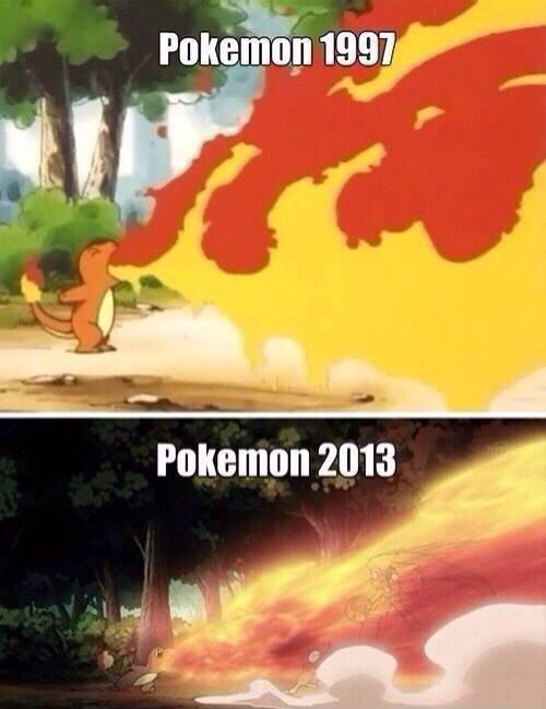 Pokemon - 1997 vs 2013. .