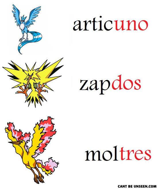pokemon have spanish numbers in them. pokemon have spanish numbers in them just look and see. driger:) dlc) s. u didn't notice that? pokemon spanish