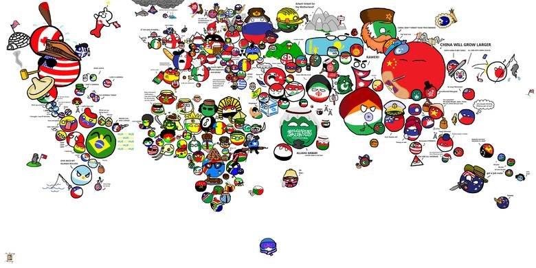 Polandball world map. Found, not made. last one btw... I like how poland is a winged hussar Polandball