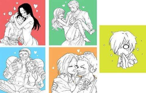 Poor Sanji. More funny stuff .. Who's Luffy with? Anime manga sanji Zoro luffy nami Franky Ussop Boa robin