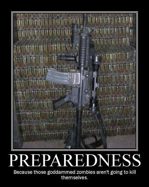 Preparedness. .. fail cuz just one gun just isnt enuf gun zombies