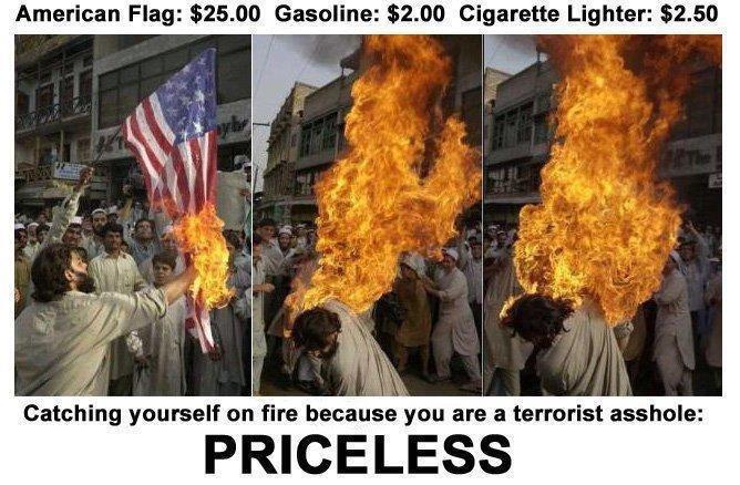 priceless. . American Flag: . 00 (Baseline: . 00 Cigarette Lighter: . 50 tit! g! rtrt?, ' on fire became we are in terrorist eyehole:. Burning a flag makes you a terrorist?