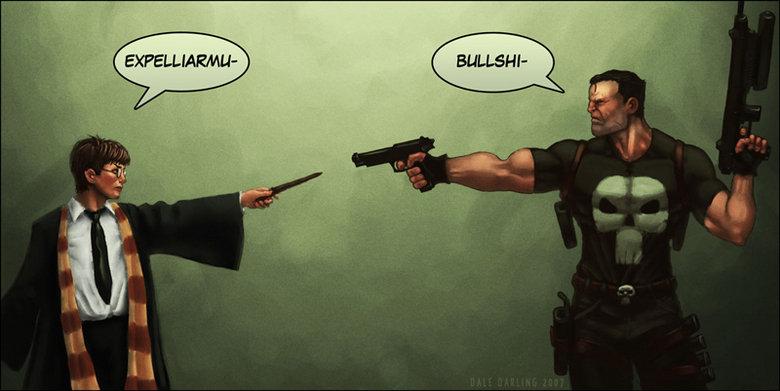 Punisher V.S. Harry Potter. He's just doing gods work.. Expell- BOOM, HEADSHOT!
