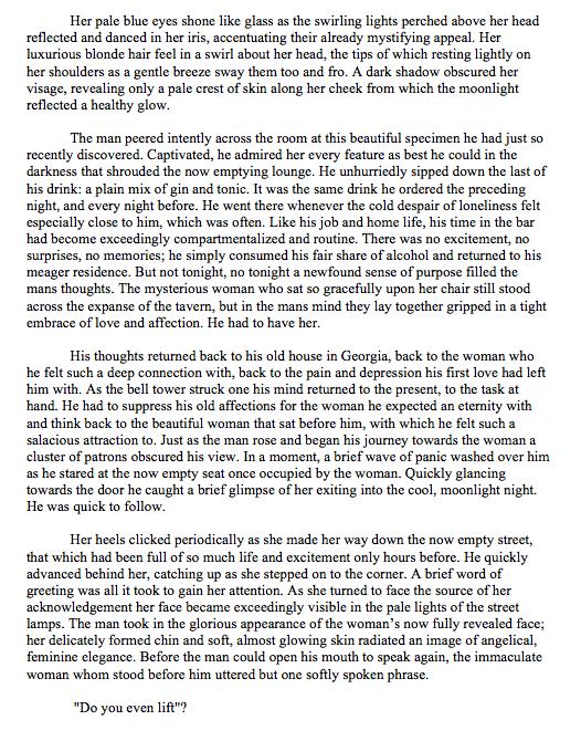 purple prose. .. TLTR sorry dave