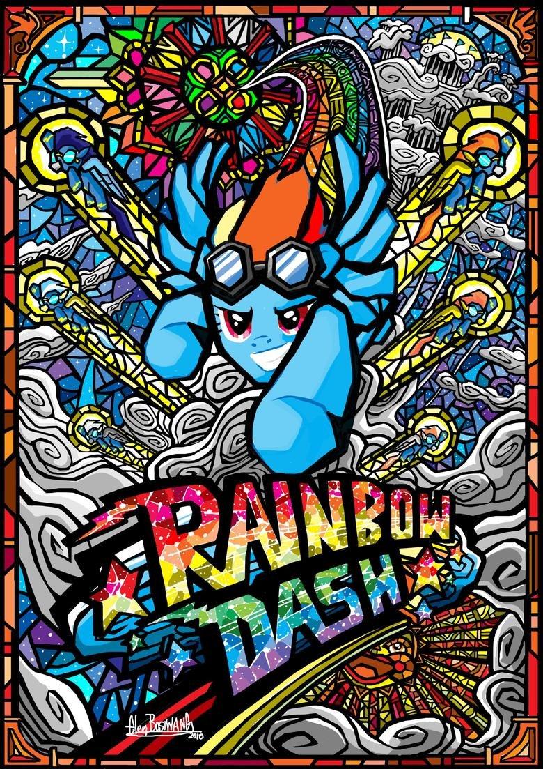 Rainbow Dash Stained Glass Art. Credits: .
