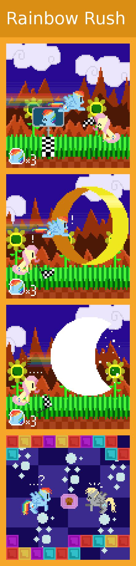 Rainbow Rush. via zztfox.deviantart.com/art/Rainbow-Rush-372890241?ga_submit_new=10%253A1369109980&ga_type=edit&ga_changes=1&ga_recent=1 Now Dash just needs to  My Little Pony retro pony pixel Rainbow dash Fluttershy Derpy Hooves Muffin Sonic sega