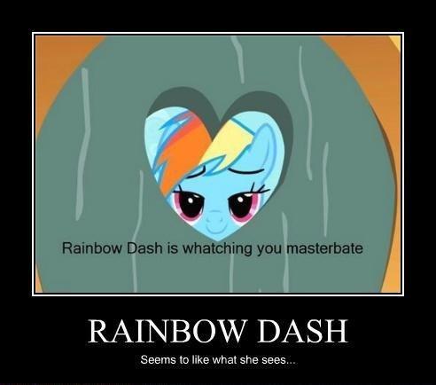 "Rainbow Dash. . Rainbow Dash is watching you RAINBOW DASH Seems to like what we ."" ="" fitr .."