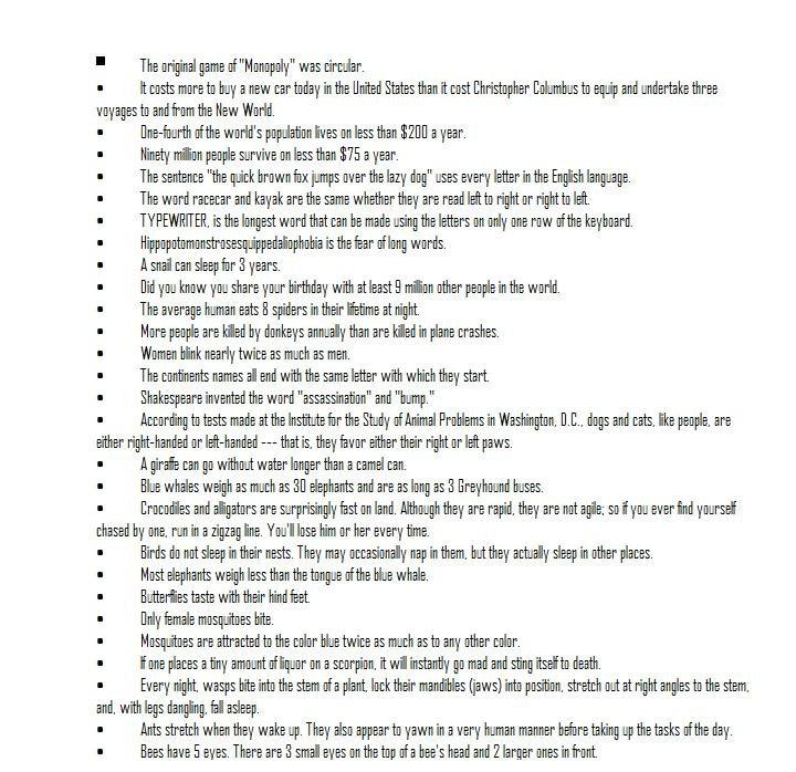 Random Facts. A bunch of random facts. 100+ i make more. The word . l' wards. kidpix, . dhur ill' --- ME. hf favor heir .. BIGGER FONT PLZ