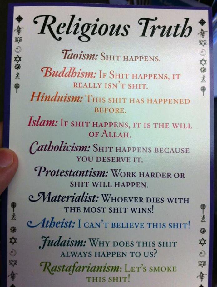Religions in a nutshell. . Taoism: HAPPE,. NS.. Buddhisms: 'rlol' Pr., N' s, Jii. talka. , smt HAPPENS, IT IS THE WI LI. OF ALLAH. madam»; Fug PTTH ist. rittre.
