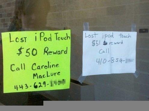 Reward, Lost Ipod. XD. Ipod lol reward why