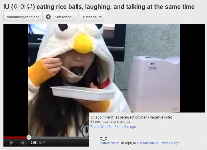 Riceballs. IU gobbling up some riceballs.. Eunhyuk approves