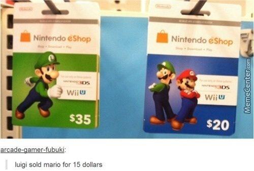 "Riperino in pastarino .. Title. Mg"": said maria far 15. Sorry but I think mario sold luigi for 30dollars Mario Nintendo V"