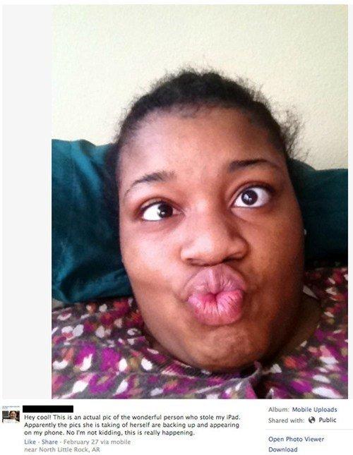Robber takes selfies. Woman Steals iPad, Takes Selfies, Selfies Auto-Upload to Original Owner's Facebook via iCloud. Unload: Her is an actual pm: tip? the wonde
