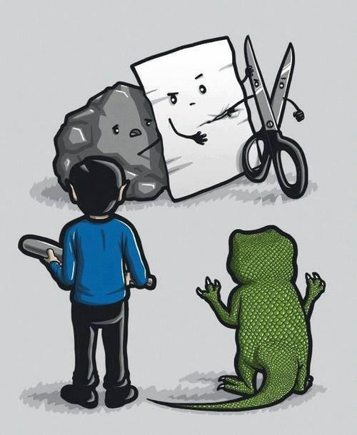 rock paper scissors lizard spock. rock paper scissors lizard spock.. 100% sense <---- something this post doesn't have. Rock paper Scissors lizard Spock