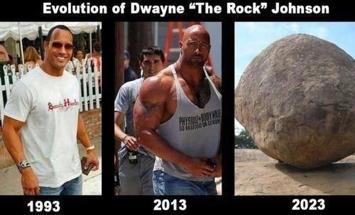 "Rock. . Evolution of Dwayne ""The Rock"" Johnson. 2040"