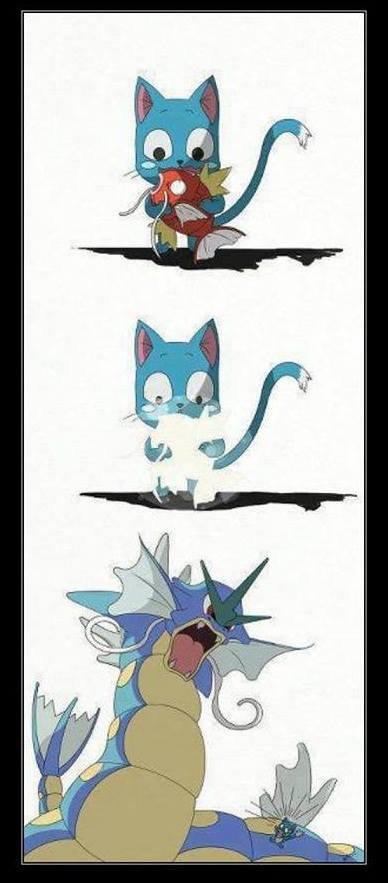 Run Btch Run!. 100% not OC...found while browsing the interwebs..... Aye fairy tail Pokemon happy magikarp Gyarados