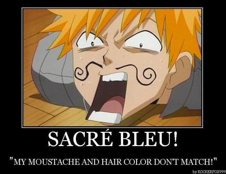Sacre bleu. oui hon hon hon baguette. MY MOUSTACHE AND HAIR COLOR DON' T MATCH!
