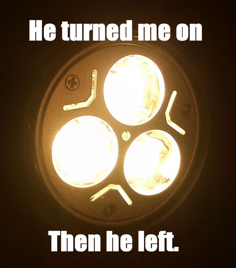 Sad lamp is sad. . Talen he left.