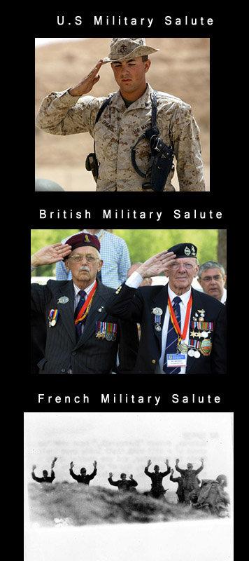 Salutes.. . U. E Military Salute French Military Salute. France's flag salutes Military Army marine comp