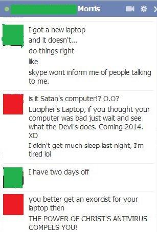 Satan's Computer. . Satan Lucipher devil Laptop computer facebook preview antichrist Jesus christ antivirus