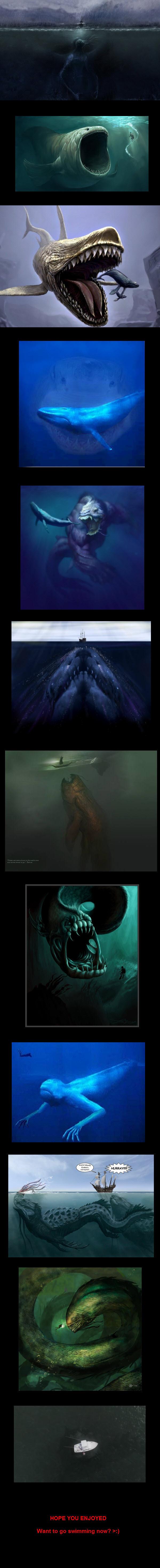 Scared of Oceans?. . ocean sea monster megladon Shark bloop kraken gulp whales Jaws