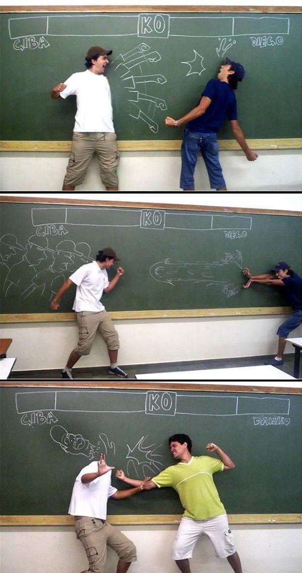 School fighter. . Blackboard match Fight