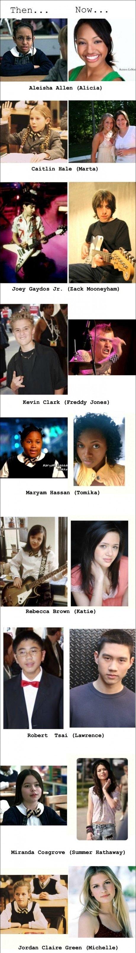 School of Rock cast then and now. . Caitlin Hale {Marta} Joey Gaydar Jr. {Zack ', Ila Hobart Taar {Lawrence} Jordan Claire Graan [iall, ! t, rt',