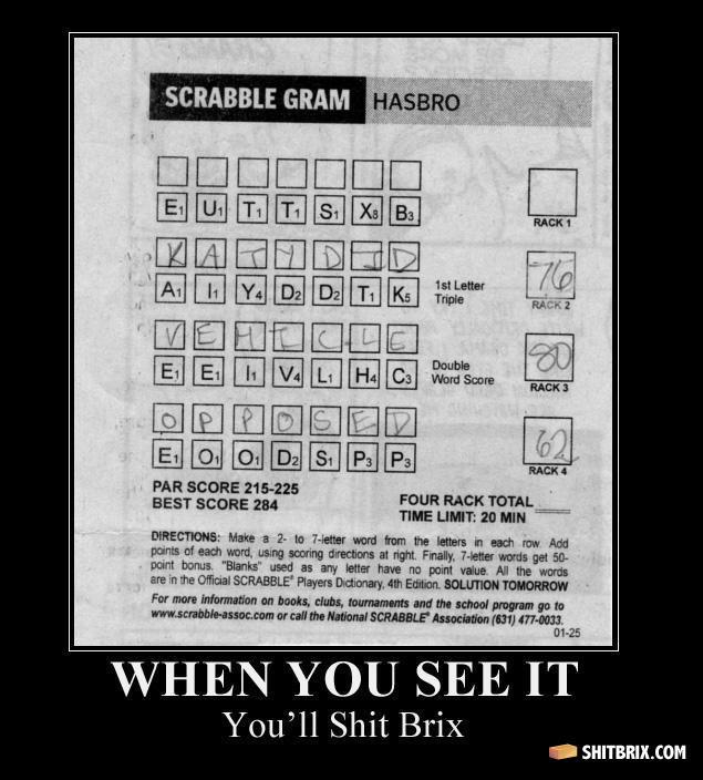 "Scrabble Gram. I'm stuck, can anybody help?. PAR scans assas . YOU IT YOLA"" 11 palm. So epic! answer is subtex scrabble gram"