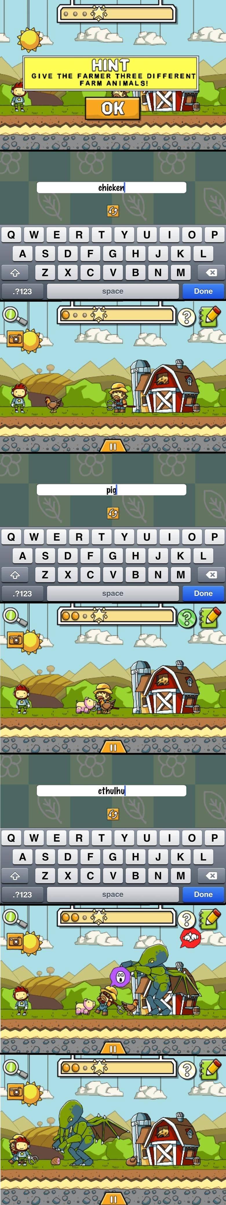 Scribblenauts. . GIVE THE FARMER THREE DIFFERENT FARR ananananon 123 Done VIE. Aww !! Mo' Scribblenauts!!