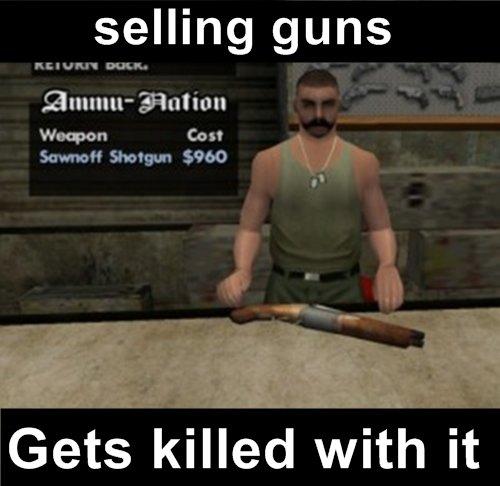 Scumbag CJ. oh hi. selling guns Emmi Gets killed with it