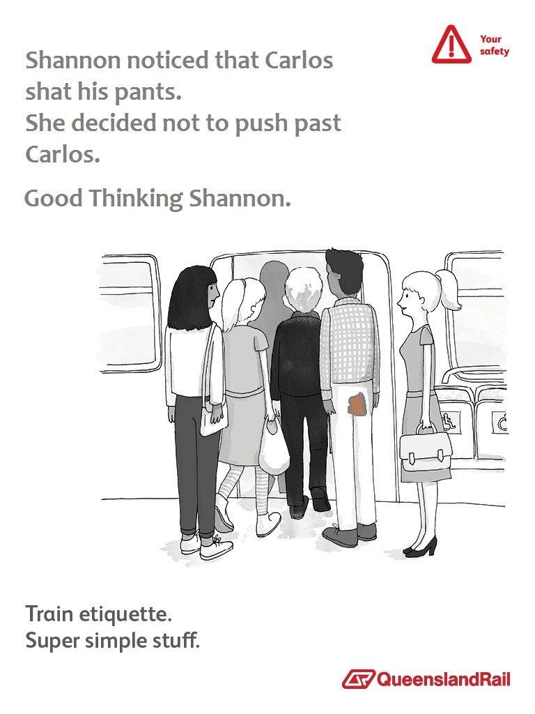 Shannon. super simple oc. bur Shannon noticed that Carlos shat his pants. She decided not to push past Carlos. Good Thinking Shannon. Train etiquette. Super sim