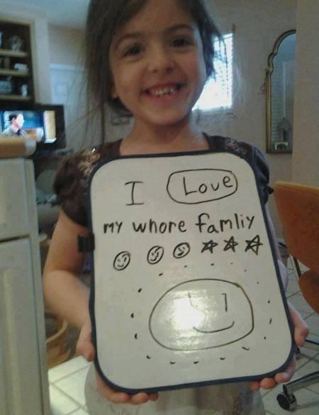 she spelled family wrong. .. she must be a Kardashian