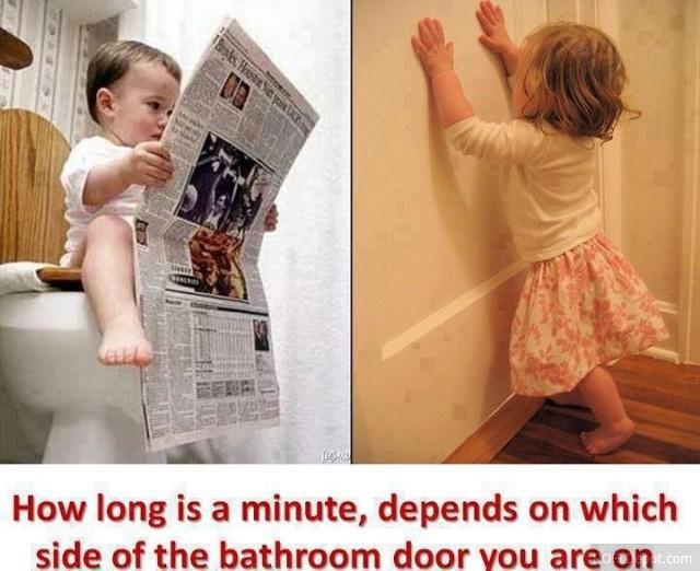 Sheeeiiiittt. . How long is 'eil minute. depends on which s! Ci?, of l. ltl bathroom door . PF'