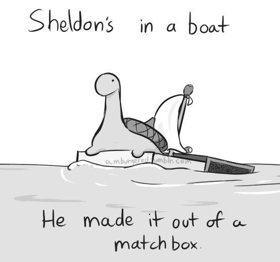 Sheldon the tiny dino. Oh Sheldon. box.