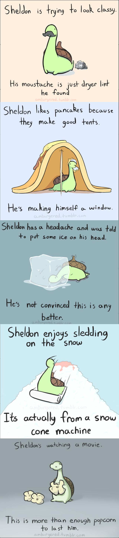 Sheldon the tiny dinosaur. All credit to Amburgered.