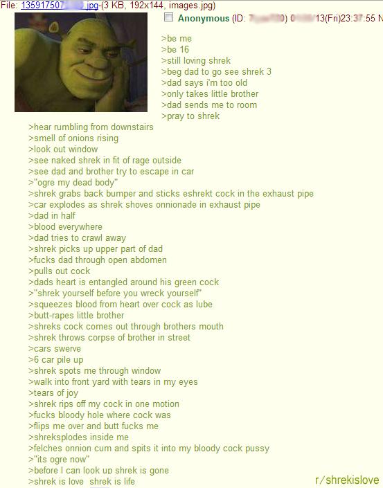 "Shrek is love Shrek is life. . File: 13_ '."" asskisser. ( , 192x144, images, jpg)"" is KB, 192x144, images, jpg) we me we 16 sstill loving shrek meg dad to see s onnions"