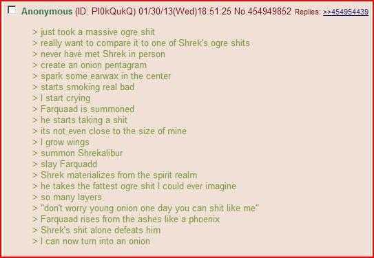 Shrek. Shrek is love. a massive ogre really want to compare it to one of Shrekis ogre never have met Shrek in person create an onion pentagram spark some earwax Shrek