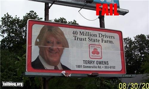 Sign FAIL. . Ct ; Ella q. Hey wait a minute... That's Chris Farley. O.O sign Billboard fail