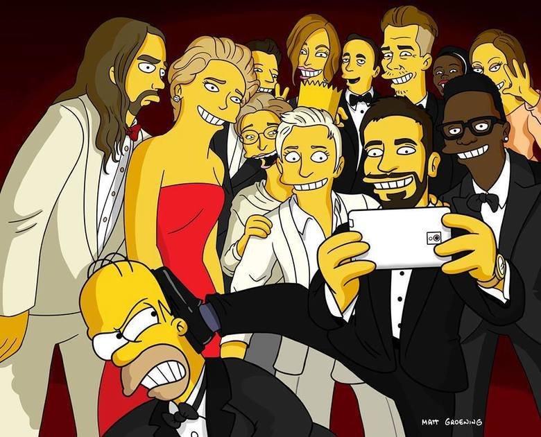 Simpson version. . simpsons oscars selfie